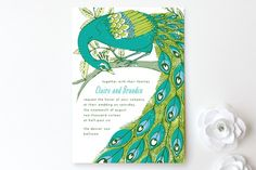 Elegant Peacock Wedding Invitations by 2birdstone at minted.com