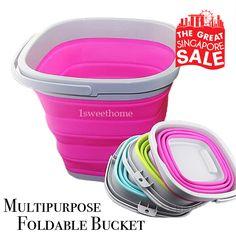 [S$7.99](▼47%)PRE-ORDER★Square Multipurpose Foldable Silicone Bucket ★ 5/10L…