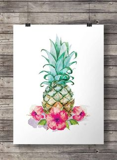 Hibiscus watercolor Pineapple - Printable wall art  -  Instant download digital print - http://centophobe.com/hibiscus-watercolor-pineapple-printable-wall-art-instant-download-digital-print/ -