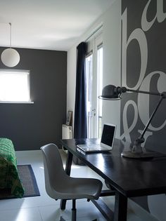 Grey Bedroom & Study...look at those letters!!!