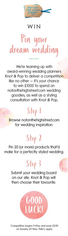 PIN TO WIN! Follow the steps above to win your dream wedding, plus a consultation with Knot & Pop from @indytute. Submit your board here >> http://www.notonthehighstreet.com/pages/weddingcompetition