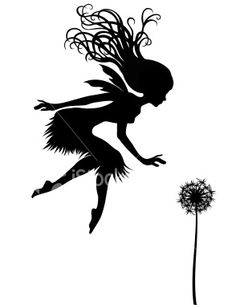 Fairy and Dandelion Silhouette Royalty Free Stock Vector Art Illustration