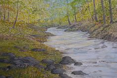 peaceful river and woodland scene art painting for sale