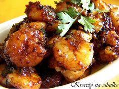 Krevety na cibulke    http://www.receptyzindie1.com/2010/07/krevety-na-cibulke.html