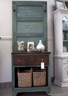 Create a custom hall tree by marrying an old door with an old cabinet or dresser. -- How to Make a Hall Tree Old Door Projects, Furniture Projects, Furniture Makeover, Wood Projects, Diy Furniture, Goodwill Furniture, Vintage Furniture, Modern Furniture, Luxury Furniture