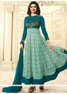 Prachi Desai Faux Georgette Embroidered Work Firozi Anarkali Suit