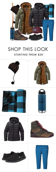 """""""roughing it"""" by chelseajones ❤ liked on Polyvore featuring prAna, Patagonia, Woolrich, sanuk, women's clothing, women's fashion, women, female, woman and misses"""