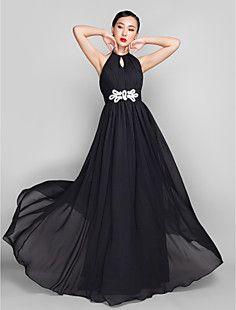 A-line/Princess High Neck  Floor-length  Tulle Evening Dress – EUR € 123.74
