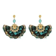 Women's Gas Bijoux 'Gaia' Feather Drop Earrings ($320) ❤ liked on Polyvore featuring jewelry, earrings, blue, blue earrings, handcrafted jewelry, handcrafted jewellery, blue jewelry and blue feather earrings