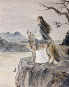 Luthien and Huan  by oreliemartin
