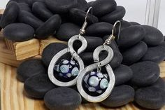blue aluminium handmade glass earrings by amabito on Etsy, €15.00