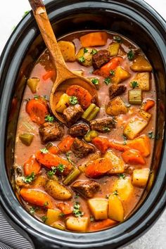 Slow Cooker Beef Stew makes the best comforting homemade meal & is perfect on a cold day. Easy to make & simmered all day for rich flavors.Our favorite dish