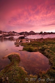 Sunset along the shores of an unnamed lake in Dusy Basin, Kings Canyon National Park, California