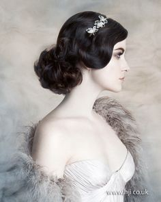 2015 dark brown waved retro bridal hairstyle.jpg