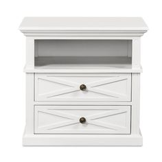 View and buy furniture online now from Maison Living. This beautifully hand-crafted Hamptons Cross BedSide Table 2 Drawer Medium - White is part of our select collection of beautiful Hamptons Inspired furniture. Stunning furniture at affordable prices. White Bedroom Furniture, Living Room Furniture, Bathroom Furniture, Die Hamptons, Hamptons Decor, Hamptons House, Hamptons Style Bedrooms, Cowhide Ottoman, Black Side Table