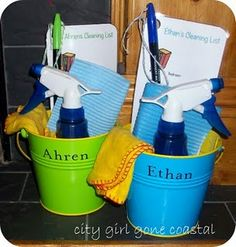 Kid Cleaning Kit--store each kid's supplies in their own bucket with a list