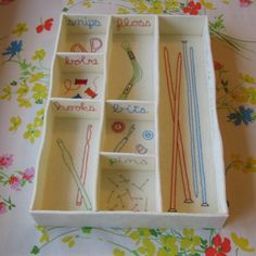 No more confusion! Not necessarily just for sewing either. Desk Tidy, Diy Desk, Sewing Box, Sewing Rooms, Needle Felting, Household, Crafty, Confusion, Room Ideas