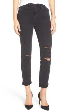 Paige Denim 'Transcend - Hoxton' Ripped Skinny Jeans (Carbon Black Destructed) available at #Nordstrom