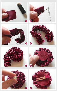 How To Make Ribbon Flower Hair AccessoriesDiscover thousands of images about DIY Tutorial DIY Ribbon Crafts / DIY Ribbon Accessories - Bead&CordThis would look amazing with Darn Good Yarn\'s Sari Ribbons store. Red, White, and Blue Hair bow perfect for ev Felt Flowers, Diy Flowers, Flowers In Hair, Fabric Flowers, Flower Ideas, Origami Flowers, Ribon Flowers, Zipper Flowers, Flower Hair Bows