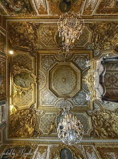 While standing at the railing, right in the middle of the chambre de la reine at Versailles ( Marie Antoinette's Bedroom ) tilt your head back and look straight up: this will be your view Chateau Versailles, Palace Of Versailles, Marie Antoinette, Beautiful Architecture, Architecture Details, Baroque, Luis Xiv, Fontainebleau, French History