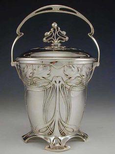 WMF Art Nouveau Biscuit Barrel Silver-plate on pewter & brass biscuit barrel with art nouveau floral decoration Germany 1906