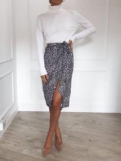 3f26589c63 Pretty Lavish – Aria Skirt - Leopard Midi Skirt Outfit, Midi Wrap Skirt,  Jumpsuit