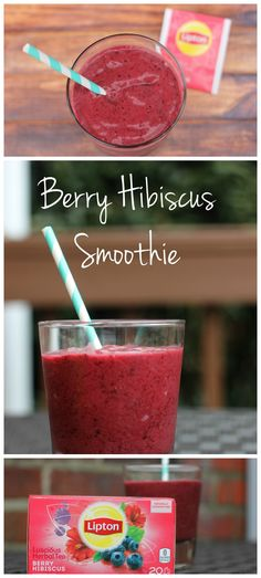 This fruity berry smoothie uses Berry Hibiscus tea as the base which gives it a perfectly fruity and herbal flavor!