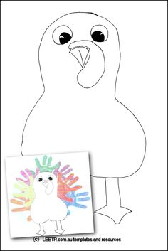 Hand Print Turkey template suitable for young children