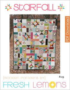 """Starfall is a scrappy star, lap sized quilt pattern measuring 60"""" x 72"""".This quilt pattern uses the following special skills: Partial Seams (directions included)This listing is for a digital copy of the directions only (PDF).The following is included in this detailed quilt pattern: ★ Measurements/Requirements for the quilt★ Directions for sewing Partial Seams★ Cutting Instructions★ Block Assembly Instructions★ Quilt Assembly DiagramsThis..."""