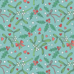 Romantic mistletoe and holly fabric by olgart on Spoonflower - custom fabric
