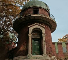 Close-up of the main building at the observatory in East Cleveland, Ohio. The Warner Swasey Observatory was built in the early 1900s and gifted to CWRU in 1919. Case Western Reserve University used this facility up until 1983. It has remained abandoned since.