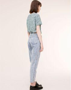 Pull&Bear - mujer - jeans - jeans mom fit tiro alto - azul clar - 05682330-I2015