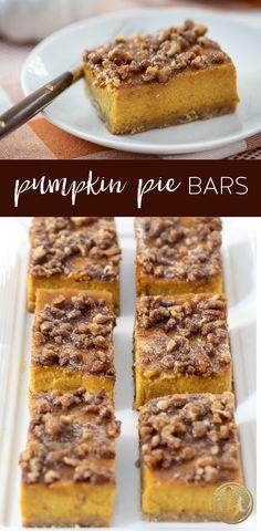 Pumpkin Pie Bars - Delicious Fall Dessert Recipe #pumpkinpie #pumpkin #fall #fallbaking #dessert #recipe Fall Dessert Recipes, Trifle Desserts, Fall Desserts, Just Desserts, Thanksgiving Recipes, Pumpkin Pie Bars, Pumpkin Pie Recipes, Pumpkin Dessert, Eat Dessert First