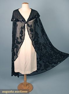 1920s BLACK BEADED EVENING CAPE, Black cotton mesh w/ large collar w/ black beaded stripes & sequined floral garland pattern