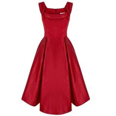 1950s Duchesse Cocktail Dress| Vintage Inspired Dress |Suzannah ($2,630) ❤ liked on Polyvore featuring dresses, structured dress, tailored dress, full skirt, vintage style cocktail dresses and red dress