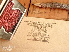 vintage rustic gatsby return address stamp   via http://emmalinebride.com/2015-giveaway/gatsby-return-address-stamp/