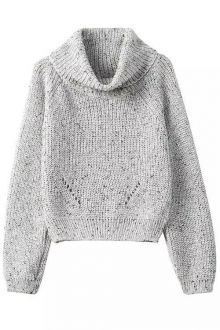Turtle Neck Color Mixed Long Sleeve Sweater