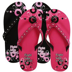 Fight Like a Girl Flip Flop with Rhinestone Straps