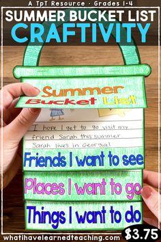Summer bucket list craftivity first grade End Of School Year, Summer School, School Fun, Summer Fun, End Of Year Activities, Summer Activities, Classroom Crafts, Classroom Activities, Classroom Supplies