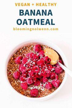 Creamy Oatmeal Recipe, Banana Oatmeal Recipe, Vegan Oatmeal, Peanut Butter Oatmeal, Oatmeal Cookie Recipes, Banana Oats, Chocolate Oatmeal, Oatmeal Cookies, Vegan Breakfast Recipes