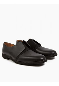 Maison Martin Margiela 22 Men's Black Leather Laceless Shoes | oki-ni