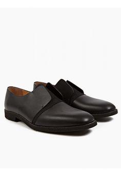 Maison Martin Margiela 22 Men's Black Leather Laceless Shoes | oki-ni