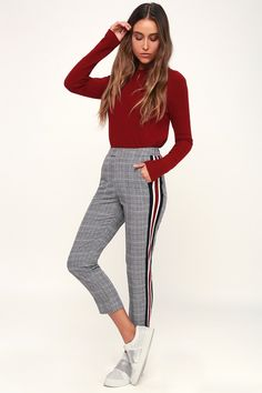 4314f13e41932 Good news seems to follow the Lulus Plaid Tidings Black and White Plaid Side  Stripe Trouser
