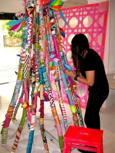 DIY crafts fabric wrapping = awesome if i had an ounce of crafty in me. Art For Kids, Crafts For Kids, Arts And Crafts, Diy Crafts, Stick Art, Painted Sticks, Yarn Bombing, Collaborative Art, Nature Crafts