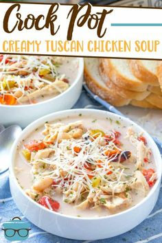 This Crock Pot Creamy Tuscan Chicken Soup is a super easy and flavorful Italian-inspired soup. This soup is an entire meal. Dump and go! Slow Cooker Recipes, Crockpot Recipes, Soup Recipes, Chicken Recipes, Cooking Recipes, Smoothie Recipes, Yummy Recipes, Dinner Recipes, Yummy Food