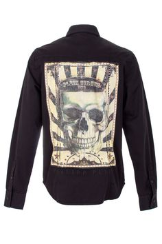 Black cotton logo plaque shirt from Philipp Plein featuring a classic collar, long sleeves, button cuffs, a front button fastening, a curved hem and two logo detail chest pockets. Browse the complete Philipp Plein collection online at Boudi UK. Philipp Plein is pure luxury with his latest Menswear Collection embodying the designers rebel streak, and glamourous ideals making the Philipp Plein brand instantly recognisable.  SS14-HM331757