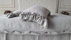100% Frill Linen Pillow Sham Stone Washed by KingdomofComfort