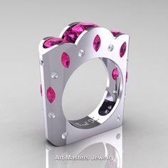 French 14K White Gold Three Stone Round and Marquise Pink Sapphire Diamond Wedding Ring R733-14KWGDPS | ArtMastersJewelry