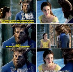 I am so PROUD of how they chose to picture a developing relationship in this film!! Beast is actually man enough to ask her, and Belle is woman enough to answer gently but honestly. I love everything about this scene.