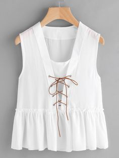 Shop Lace Up Frill Trim Smock Top online. SheIn offers Lace Up Frill Trim Smock Top & more to fit your fashionable needs. Tops Vintage, Traditional Fashion, Types Of Fashion Styles, Fashion Outfits, Womens Fashion, Dress To Impress, Blouses For Women, Summer Outfits, Casual Dresses